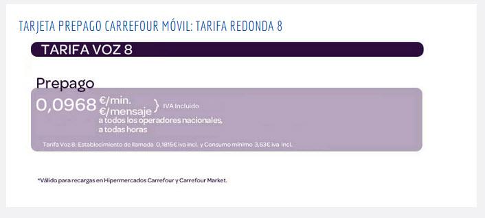 Carrefour movil tarifas prepago 2015