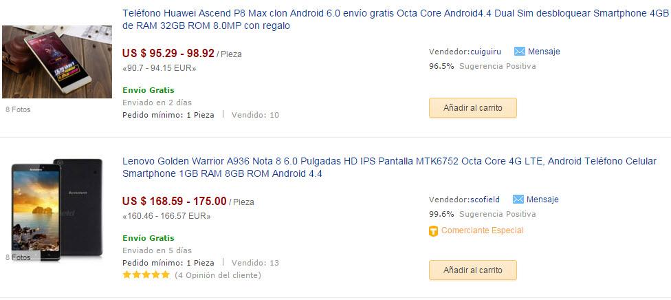dhgate smartphones precios