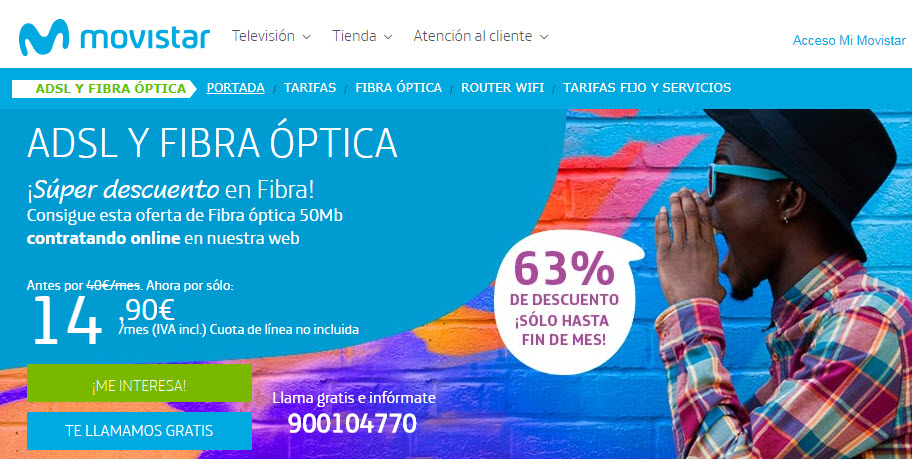 Tarifas Movistar Fibra Base