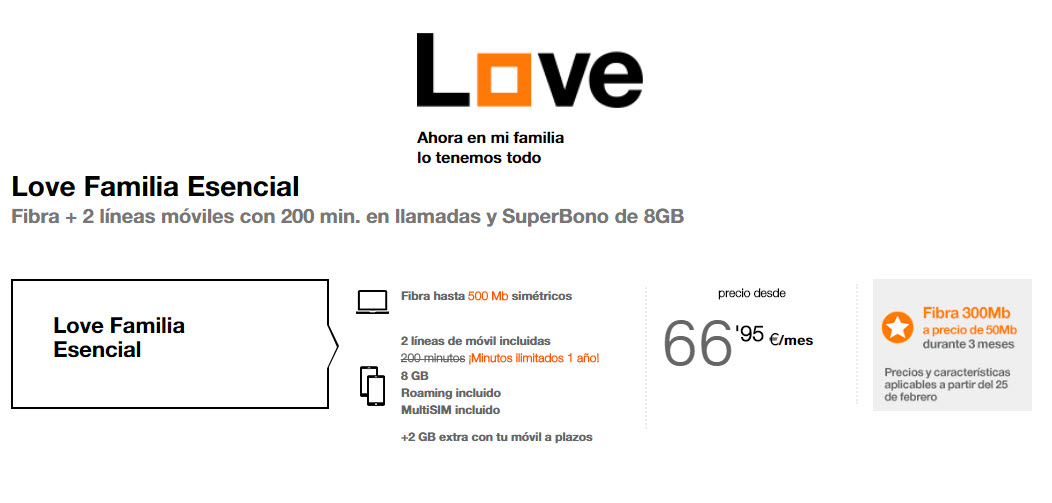 tarifas orange love esencial