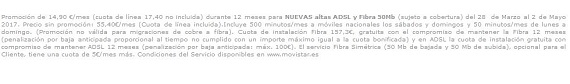 movistar fibra tarifas