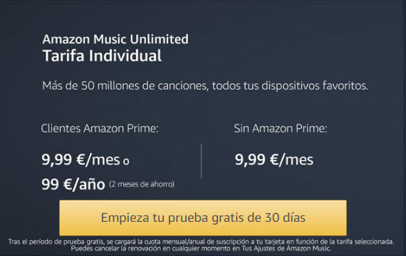 amazon music unlimited precio