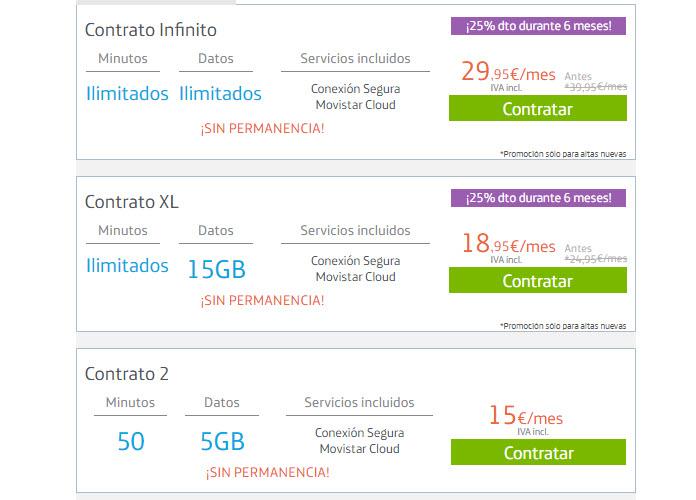 Tarifas Movistar contrato