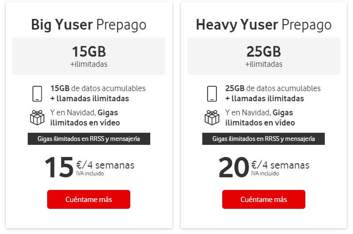 Tarifas Vodafone Yu Prepago