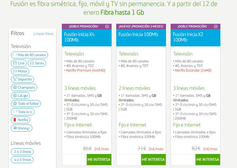 Movistar Fibra precios
