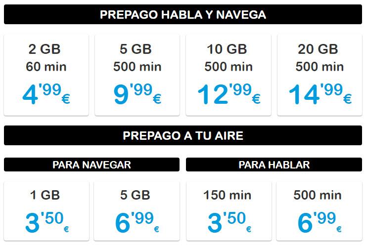 tarifa prepago más barata de España